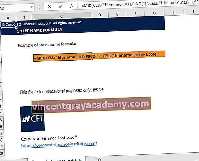 Mi az a lapnév kód Excel képlete?