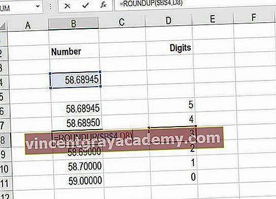 Kako uporabljati Excel ROUNDUP